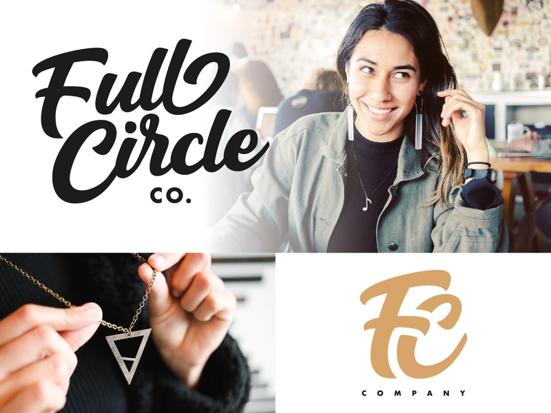 Full Circle Co. - Final Logo script cymbals drums jewelry full circle full circle co fc monogram icon type logo design typography