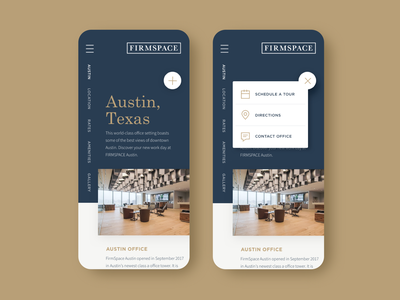 Executive Shared Workplaces navigation office texas app austin coworking mobile ui