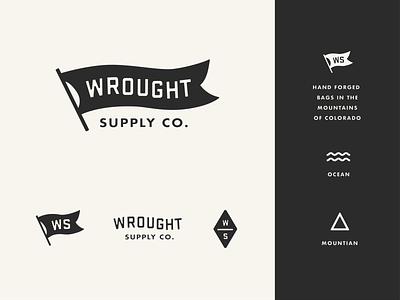 Wrought Supply Co. mountains ocean travel flag logo colorado branding bags canvas