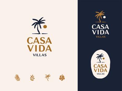 Casa Vida Villas villas airbnb plants botanical illustration logo tropical palm tree sun beach costa rica