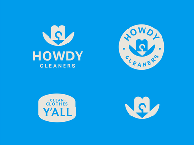 Howdy Cleaners hanger cowboy hat howdy texas austin cowboy logo clothes dry cleaner