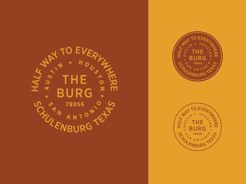 The Burg crest branding sticker badge typography san antonio houston austin texas