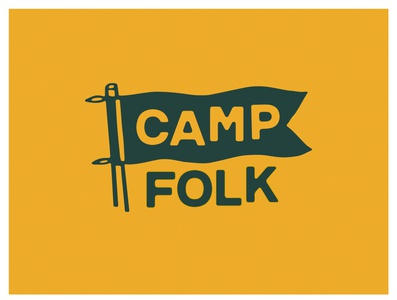 Camp Folk summer illustration health camp wellness flag branding logo