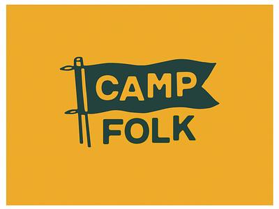 Camp Folk summer illustration health camp wellness flag branding logo
