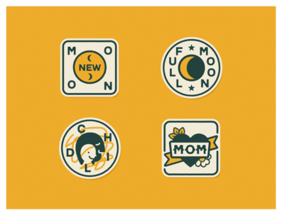 Folk Camp Wellness Merit Badges heart illustration camp summer camp wellness child moon mom patches crests badges