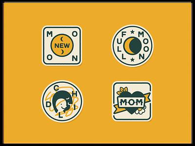 Camp Folk Wellness Merit Badges heart illustration camp summer camp wellness child moon mom patches crests badges