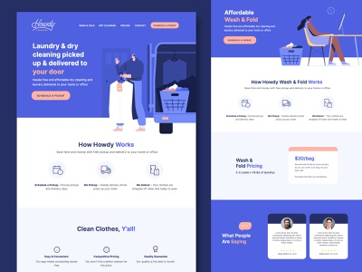 Howdy Cleaners laundry working delivery app website delivery people illustration dry cleaner