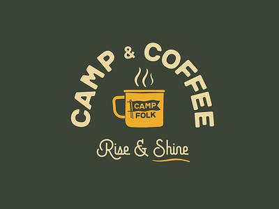 Camp & Coffee Sessions flag logo badge camping coffee cup enamel mug coffee camp