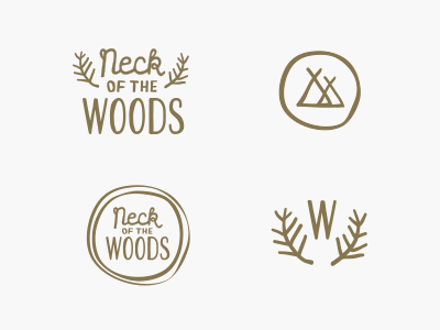 Neck of the Woods logo identity branding illustrations branches tree rings tents