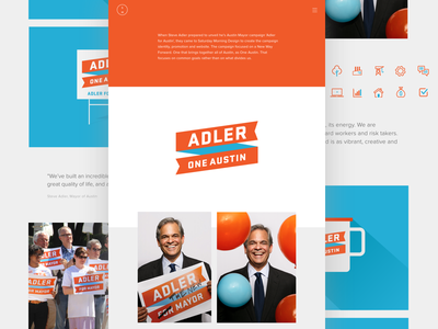 Personal Website campaign politics branding logo texas austin mayor adler for mayor ui website portfolio