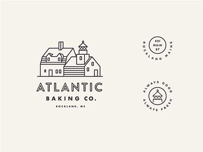 Atlantic Baking Co. main street maine line art illustration typography lighthouse logo