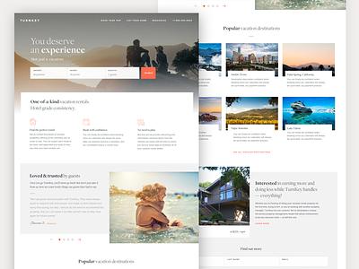 Vacation Rentals - Homepage grid simple website ui big images large hero travel