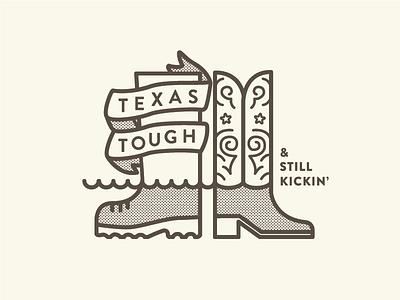 Texas Tough & Still Kickin' banner water rain boot boot texas help donate flood hurricane relief harvey