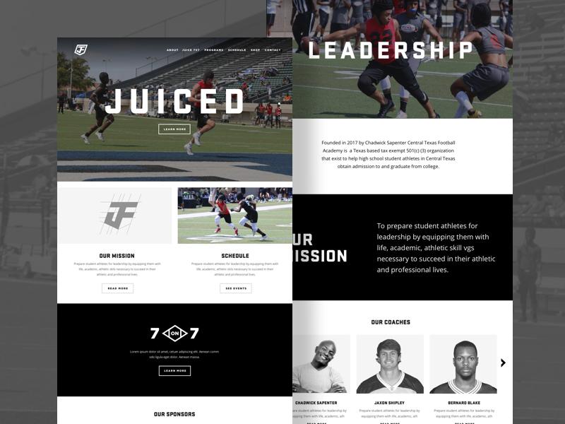 Juice Football Website texas austin coach crest shield branding logo ui grid website juice football