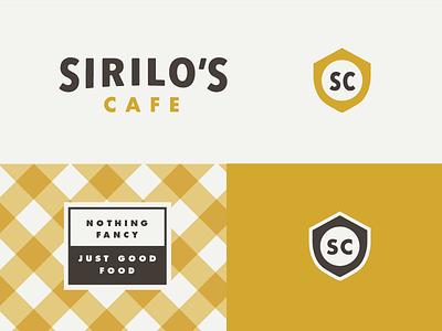 Sirilo's Cafe vintage retro identity branding logo food badge shield restaurant cafe
