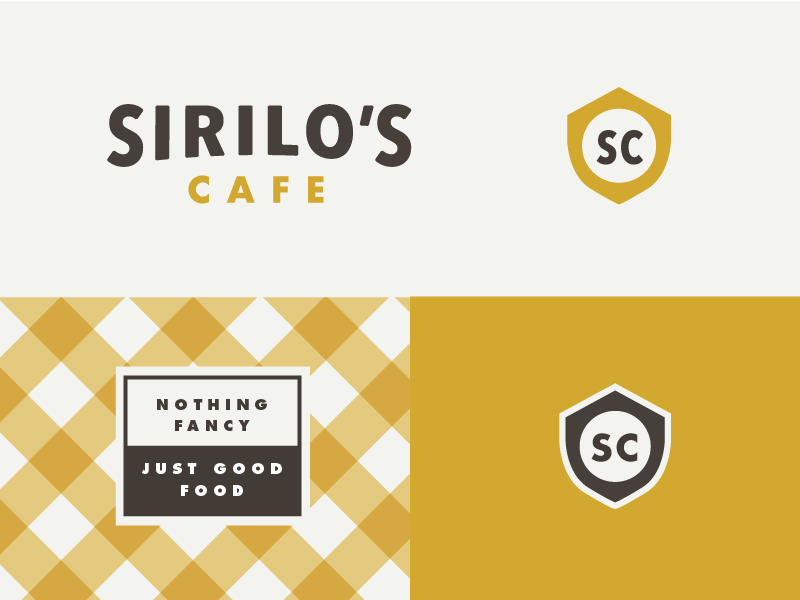 Sirilo's Cafe vintage retro identity branding logo food badge shield restaurant cafe
