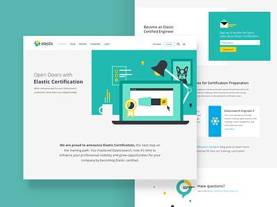 Elastic Certification coffee icons desktop charts data illustration website landing page certification