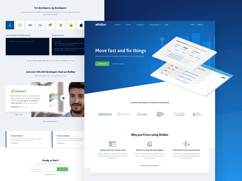 Rollbar Homepage isometric ux web layout grid errors product website ui homepage