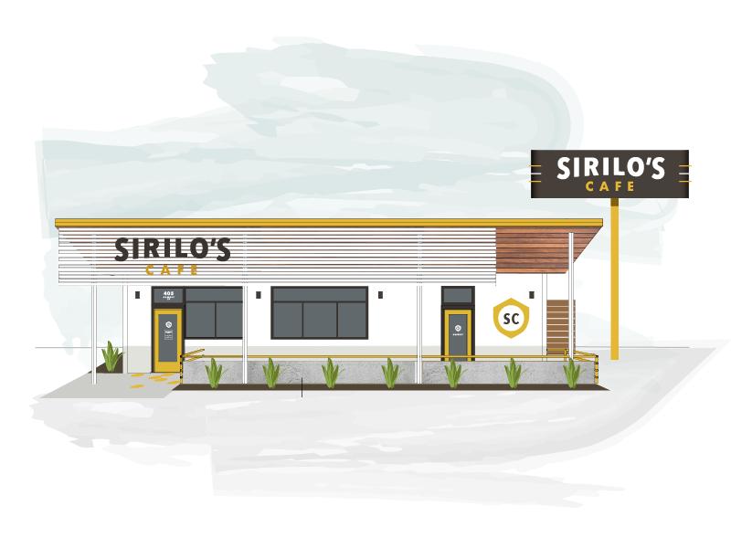 Sirilo's Cafe Exterior badge texas restaurant cafe gas station branding logo neon sign signage illustration building