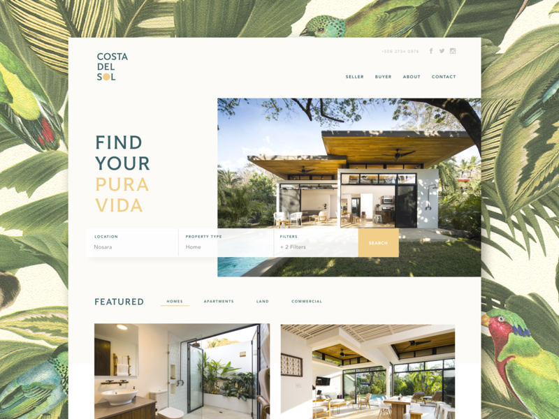 Costa Del Sol grid website web design costa rica dropdowns homepage logo homes ux ui real estate