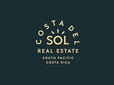Costa Del Sol Real Estate pura vida sol typography brand logo real estate sun tropical costa rica