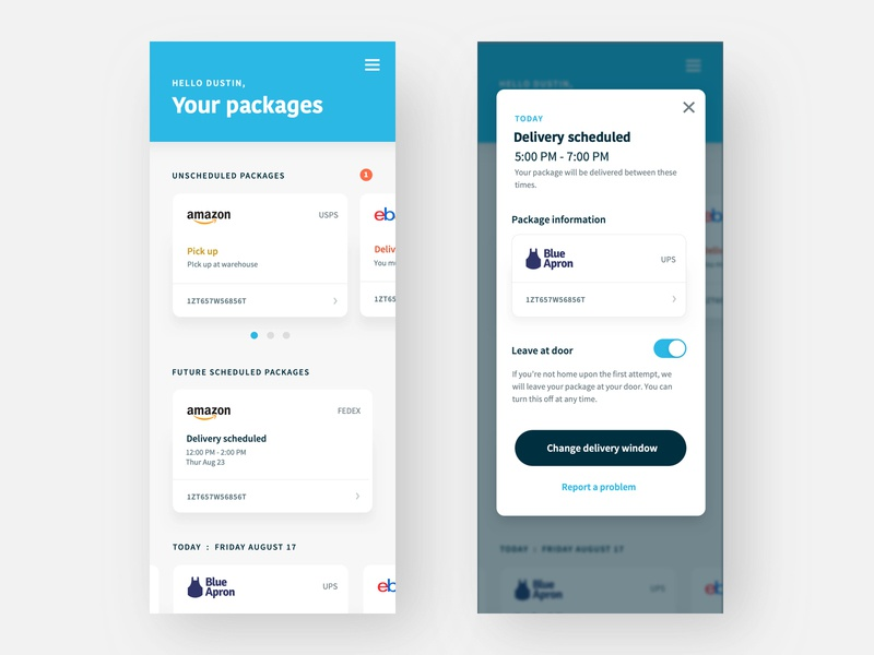 Fetch Delivery App design interface swipe gestures delivery amazon packages ui mobile app
