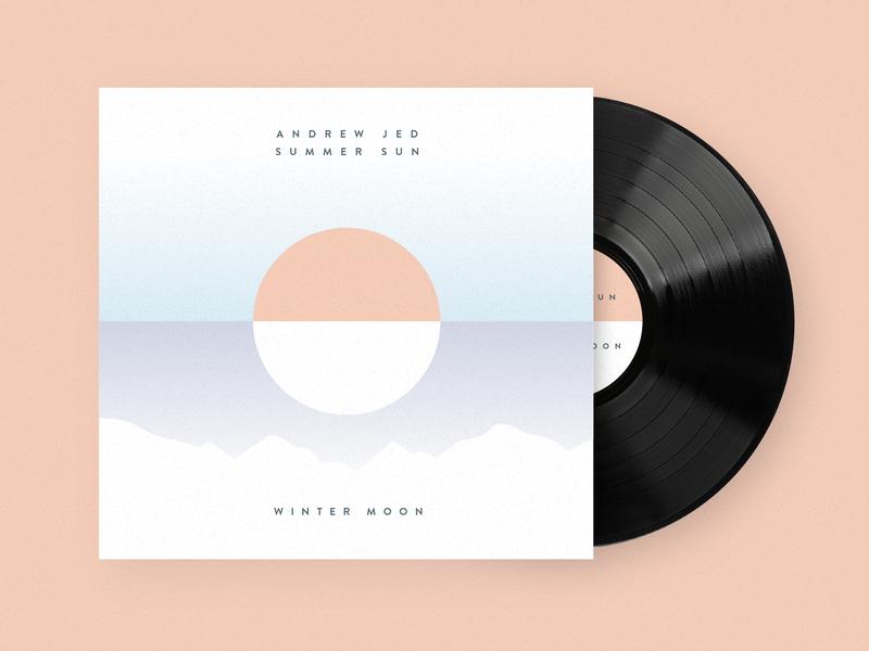'Summer Sun, Winter Moon' Album Cover folk music minimal summer winter mountains conceptual illustration sun moon album cover album