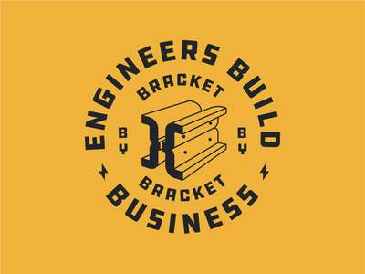 Engineers Build Business steel illustration industrial lighting bracket construction ibeam crest badge patch shirt