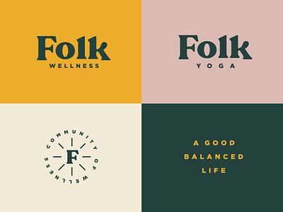 Folk Wellness typography badge colors branding fitness health wellness yoga logo