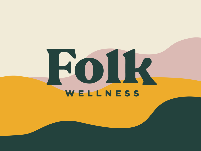 Folk Wellness Flows color organic shapes patterns typography branding logo wellness yoga
