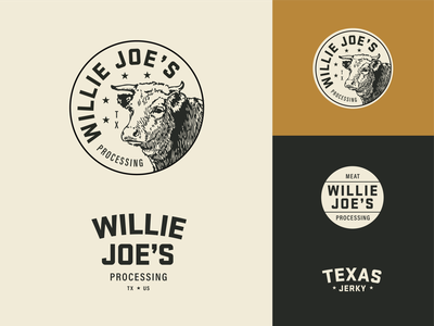 Willie Joe's bull steer stars branding logo stickers cow badge meat jerky texas