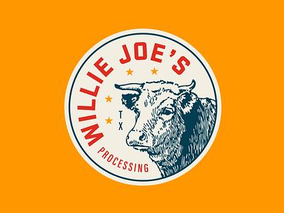 Willie Joes austin stickers illustration stars beef jerky steer bull meat texas cow badge