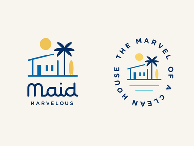 Maid Marvelous cleaner logo surf board ocean house illustrator san diego palm tree sun beach