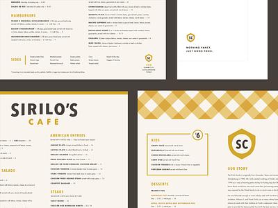 Sirilo's Menu plaid badge shield napkin logo food menu