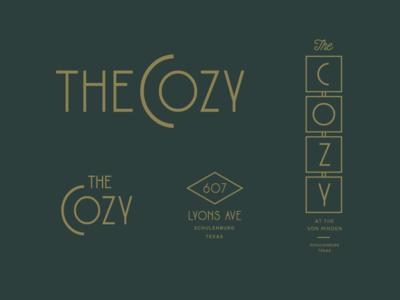 The Cozy hotel vintage signage lounge bar logo texas identity retro logo wine bar