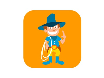 Cowboy badge kids cowboy illustrator vector badge flat illustration