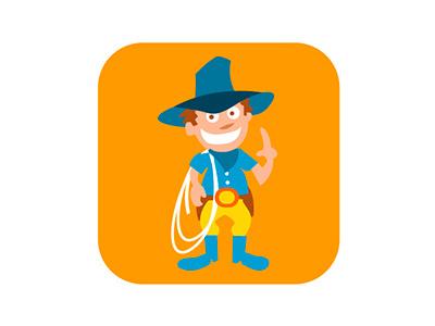 Cowboy badge kids cowboy illustrator vector badge flat illustration