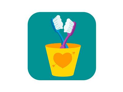Toothbrush badge illustration flat badge vector illustrator cowboy kids