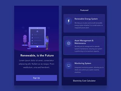 Solar Energy Mobile Website solar energy ux uiux illustration app design