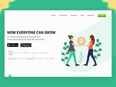 Per to per Lending Header ui investment landing page fintech fintech investree p2plending uiux app design