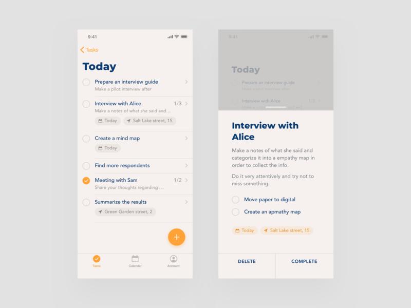 To Do minimal clean design color mobile typogaphy ux ui app sketch