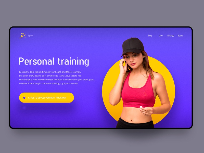 Personal traning interface personal traning girl syte web uxui ux sport