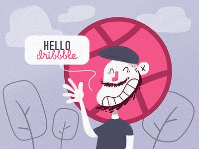 Hello Dribbble 01/02 hello dribbble self portrait cartoon illustration first shot debut