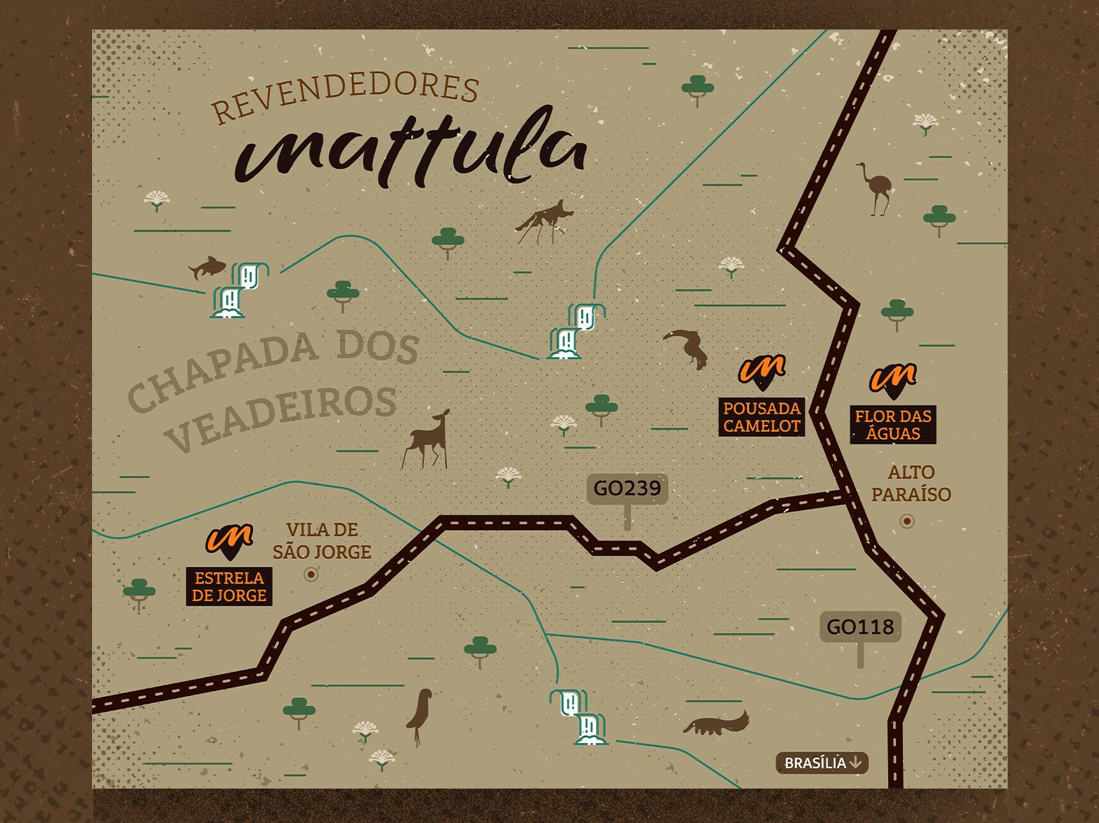 Chapada dos Veadeiros Map navigation map illustration