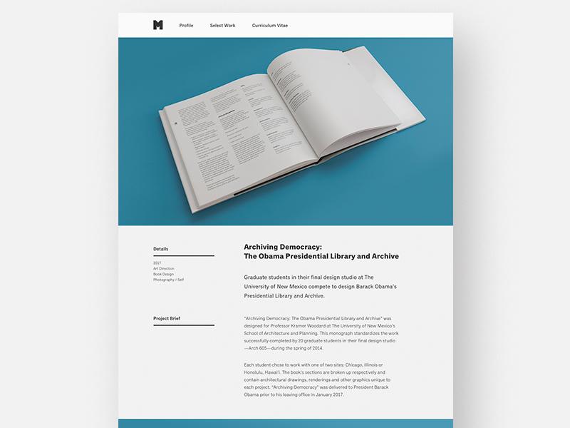 Portfolio Redesign 2017 / Project Page web design portfolio