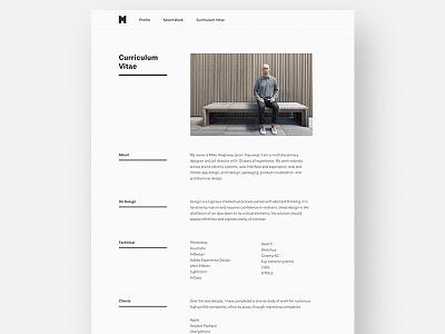 Portfolio Redesign 2017 / Curriculum Vitae web design portfolio