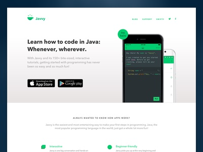 Javvy Marketing Site mobile web web app ios swifty marketing site marketing javvy java