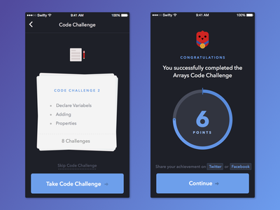 Swifty Code Challenges points challenge swift code gameification ui code challenges app ios swifty