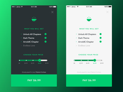 Javvy iOS Purchase Screen pay what you want view screen buy purchase ios app ui mobile javvy