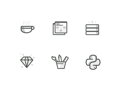 Programming Language Icons illustration education coding ruby css python java html icons language programming